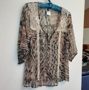 Love Squared Animal Print Blouse with Lace Detail